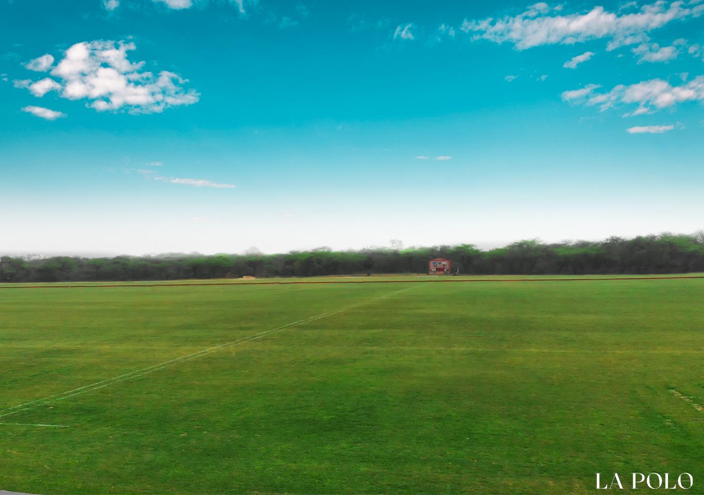 Empty polo field in New Delhi, India