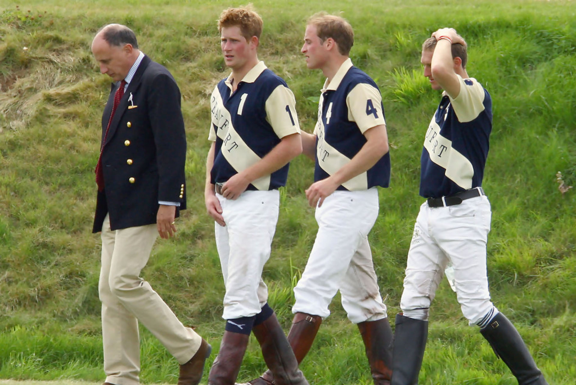 Prince William and Prince Harry after a polo match