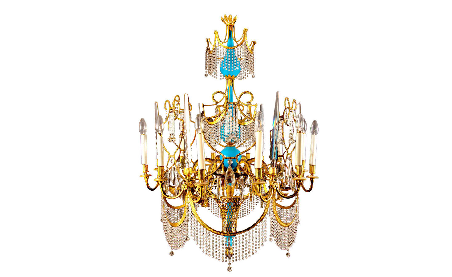 .Russian Gilt Bronze, Cut Glass and Blue Porcelain Chandelier