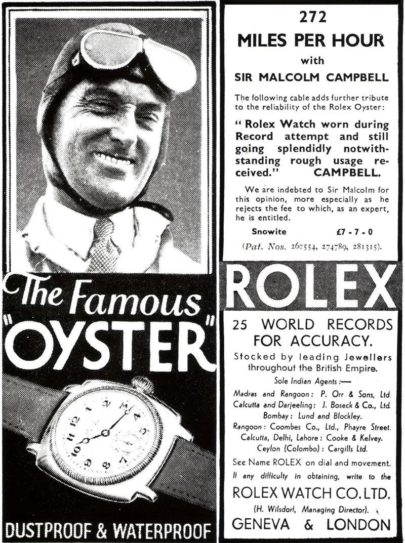 Sir Malcolm Campbell setting a record with the Oyster
