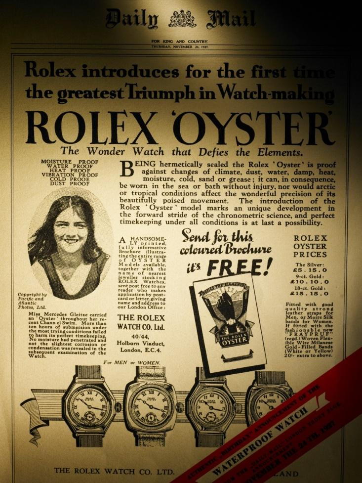 The Rolex Oyster and Mercedes Gleitz ad in Dail Mail, Jean-Daniel Meyer