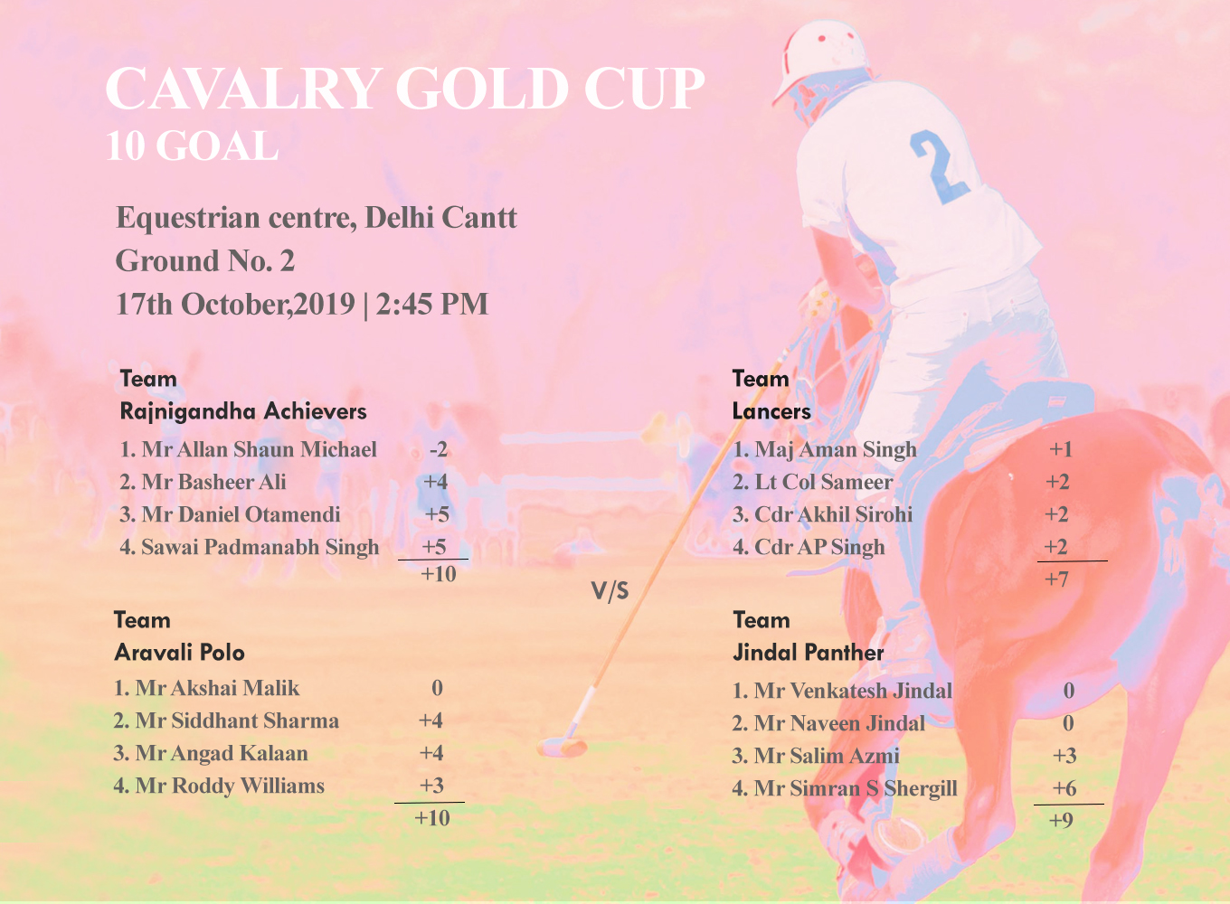 Hexagonic Matches For The Day   Cavalry Gold Cup
