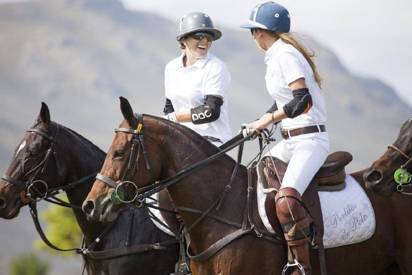 South African Women Polo Players showing off their skills on the ground