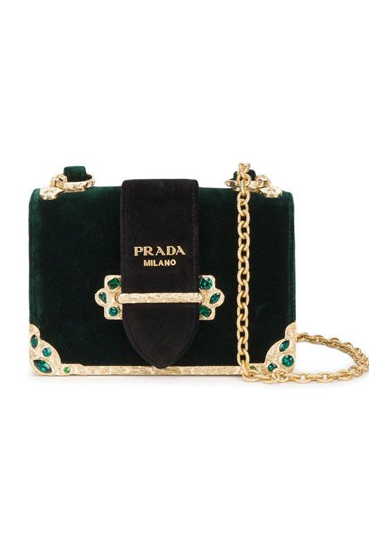 Prada Velvet Crystal Embellished Bag